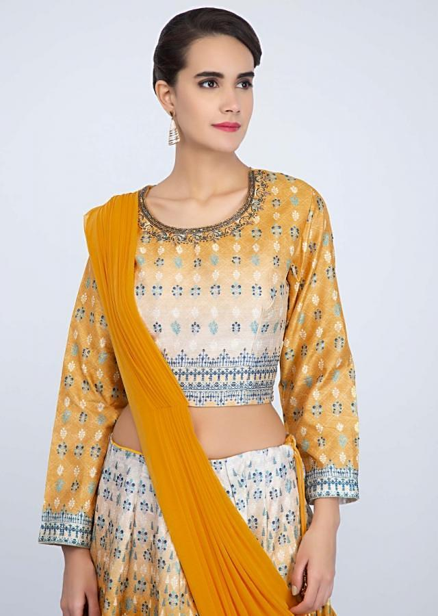 Yellow and white shaded cotton lehenga with matching blouse and pre stitched ready pleated dupatta only on Kalki