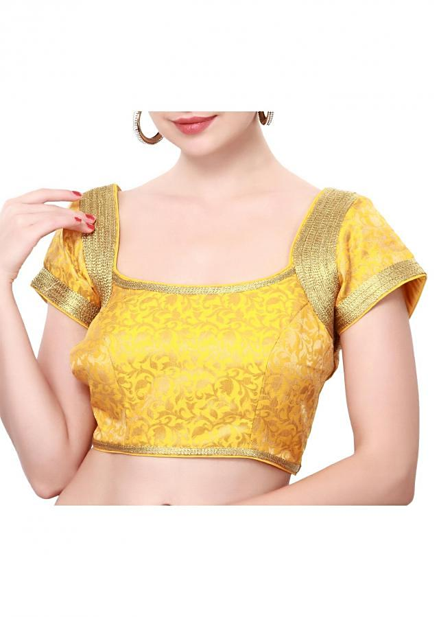 Yellow blouse enhanced in gold zari lace only on Kalki