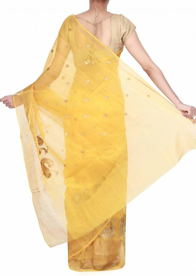 Yellow chanderi saree adorn in zari embroidery only on Kalki