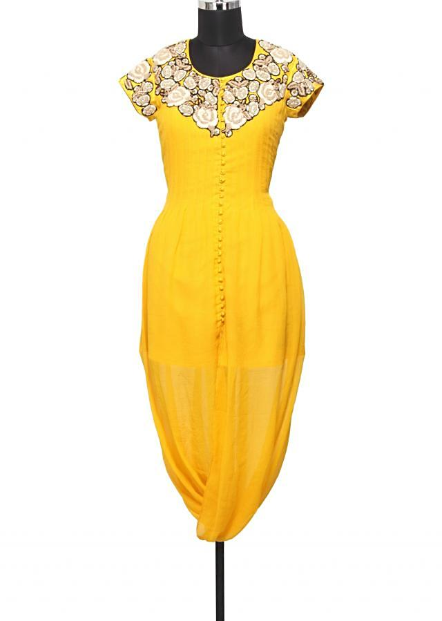 Yellow chiffon dhoti style  kurti in thread only on Kalki