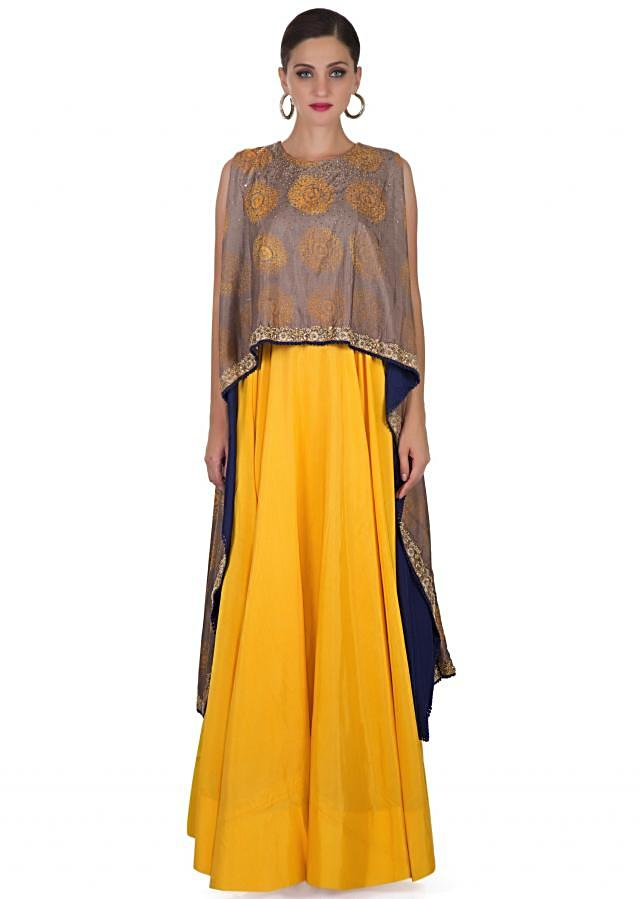 Yellow Cotton Dress with Sequined Printed Silk Cape Only on Kalki