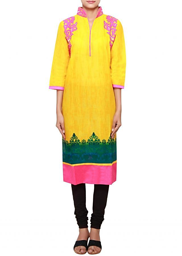Yellow cotton kurti embellished in thread and print only on Kalki