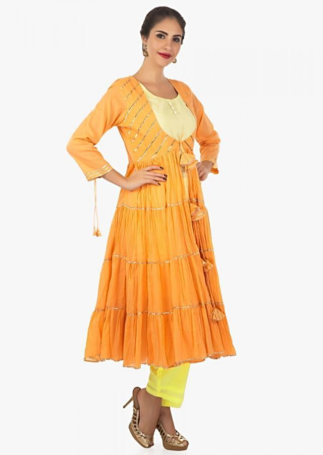 Yellow Kurti And Pant In Cotton Paired With Apricot Jacket With Gathers Online - Kalki Fashion