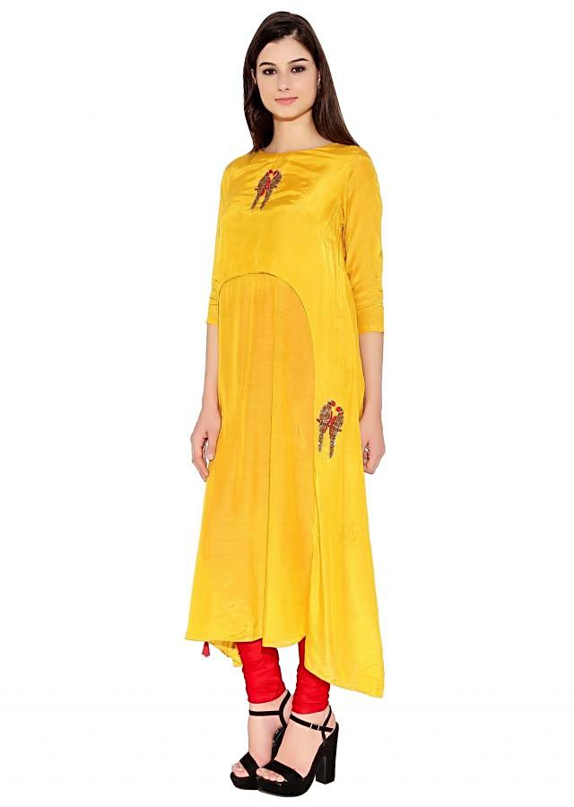 Yellow Cotton Kurti With Thread And Sequin Embroidered Parrot Motif On Neck And Bottom Only On Kalki