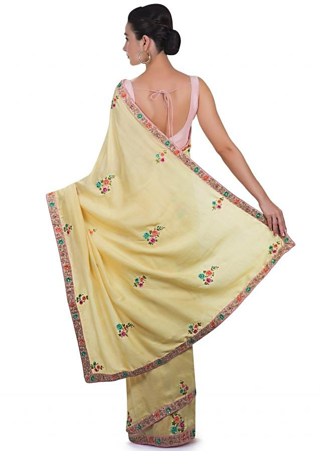 Yellow Saree In Cotton Silk Adorned With Resham, Sequin Butti And Border Online - Kalki Fashion