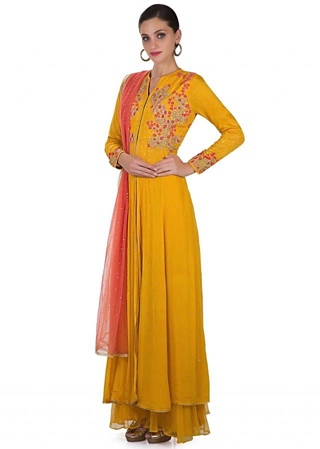 Yellow Cotton Silk Top Adorned with Resham Work, Net Dupatta and Palazzos only on Kalki