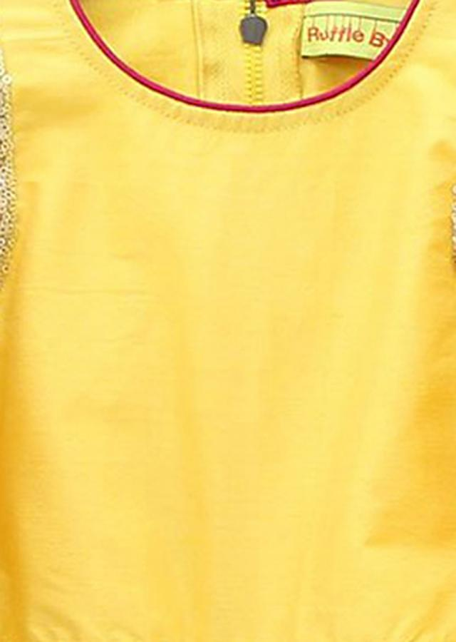 Yellow Crop Top With Sequin Work And Gathers Sleeve Matched With Pleated Skirt Online - Kalki Fashion