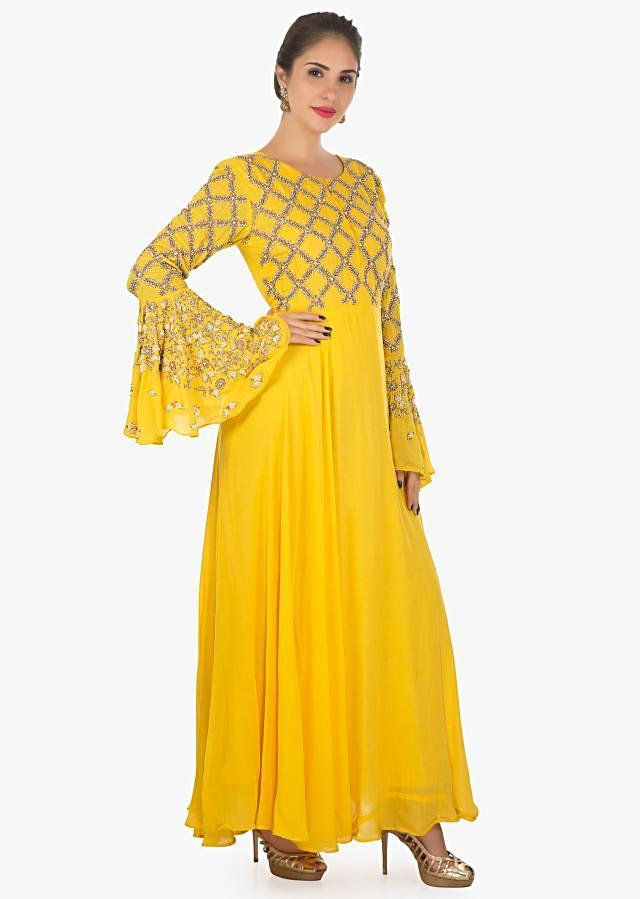 Yellow dress flared sleeves dress embellished with moti and zari only on kalki