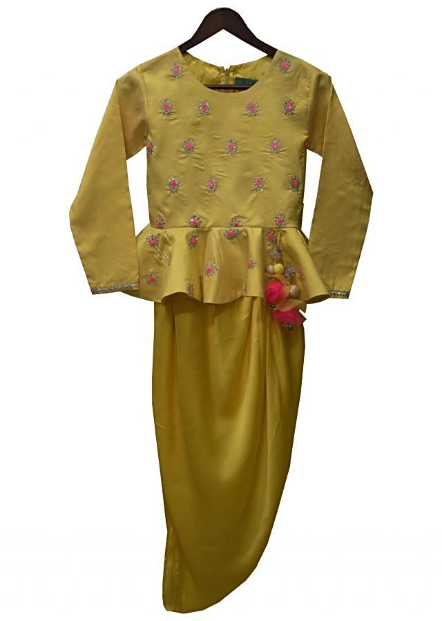 Yellow Embroidery Top with Dhoti by Fayon Kids