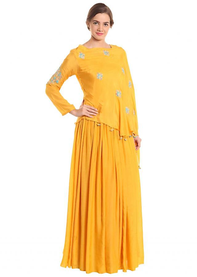 Yellow georgette and cotton silk dress crafted with thread embroidery only on Kalki