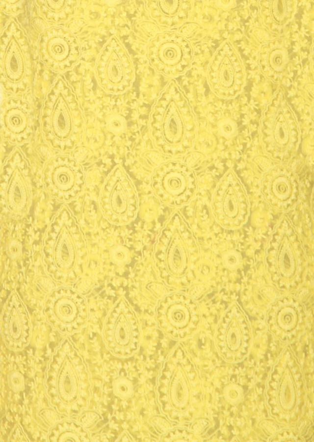 Yellow georgette un-stitched salwar-kameez embellished in lucknowi embroidery and gotta patti work only on Kalki