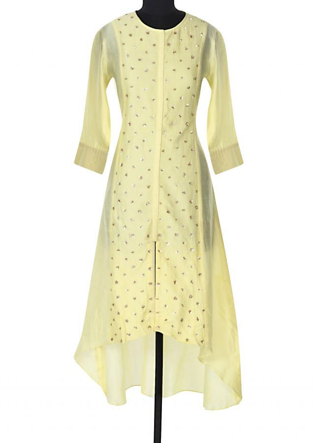 Yellow kurti adorn in sequin embroidery only on Kalki
