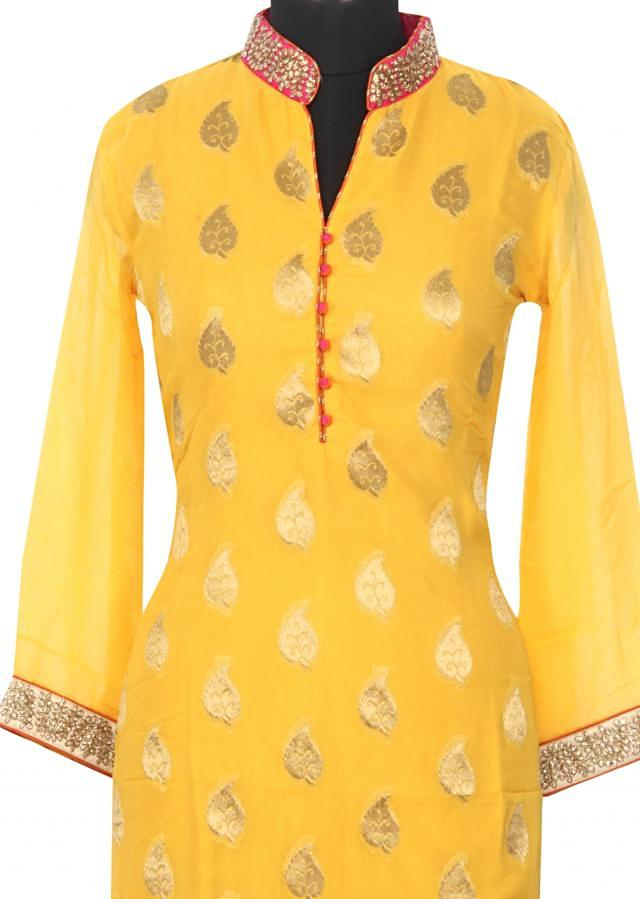 Yellow kurti featuring with zari embellished collar only on Kalki