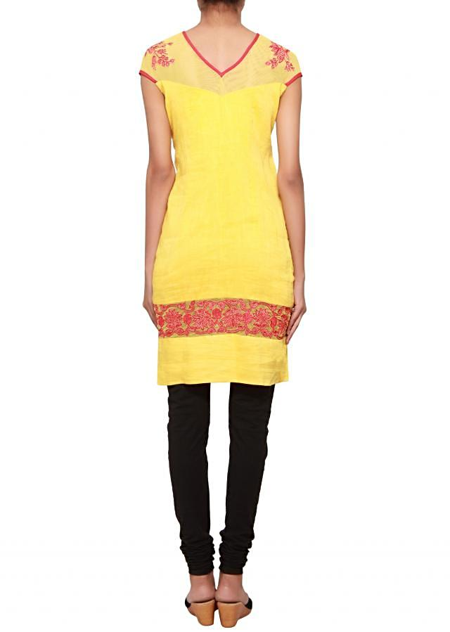 Yellow kurti in cotton silk embellished in red resham embroidery only on Kalki