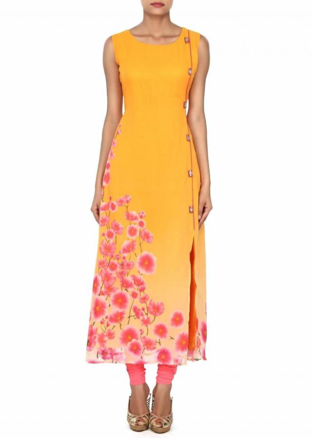 Yellow kurti in floral print and fancy buttons only on Kalki