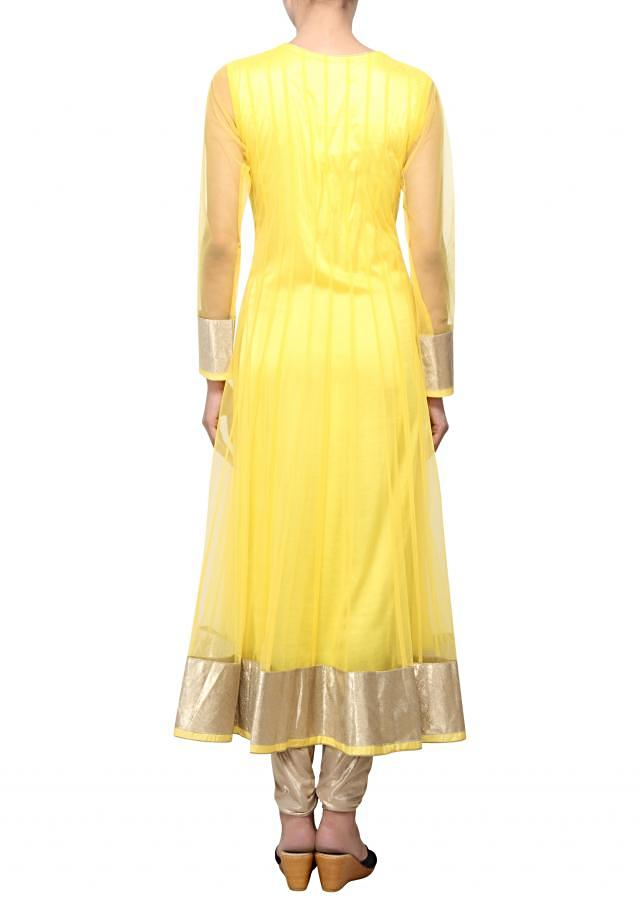 Yellow net anarkali suit with embroidered neckline only on Kalki