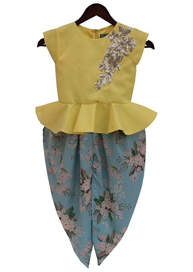 Yellow Peplum Choli with Embroidery on Shoulder and Printed Dhoti by Fayon Kids