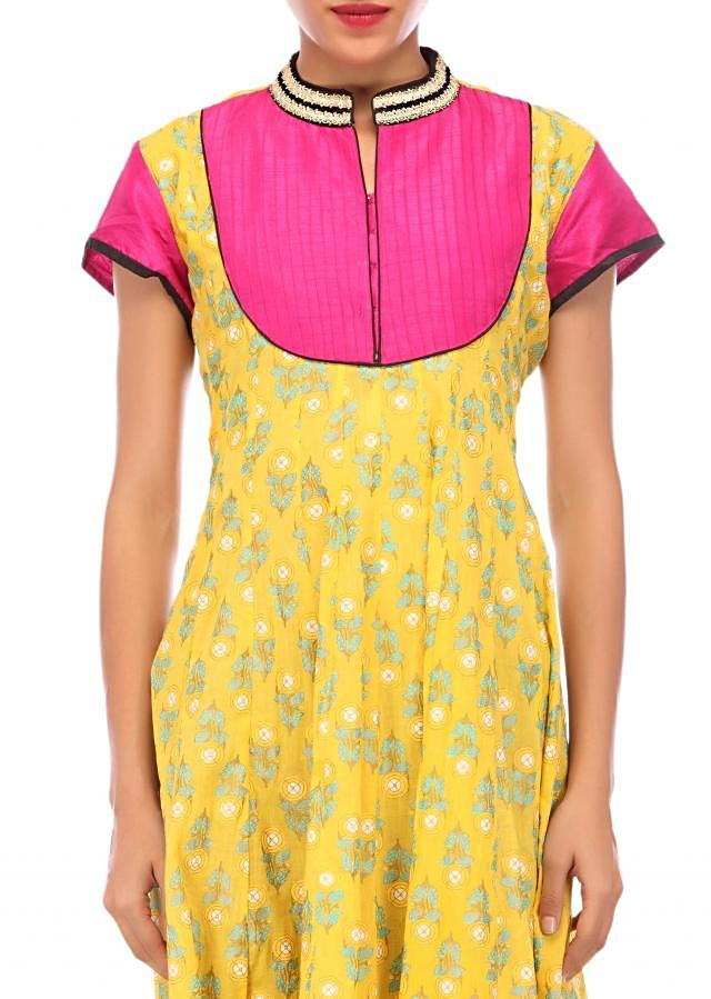 Yellow printed anarkali suit featuring with pin tucks only on Kalki