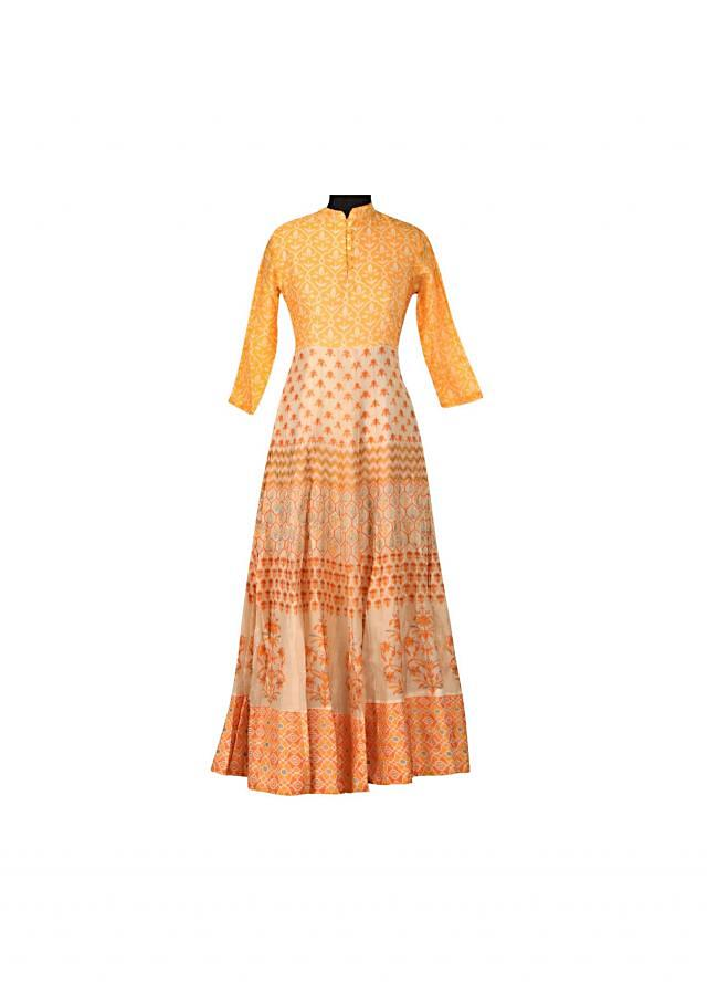 Yellow printed dress in floral motif only on Kalki