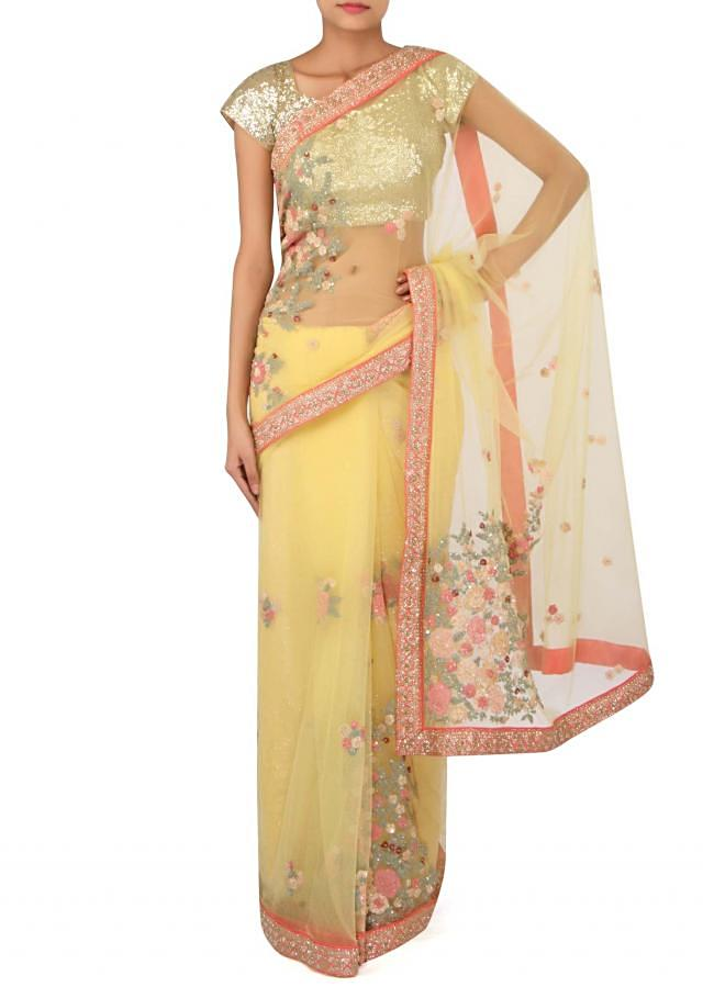 Yellow saree adorn in embossed thread embroidery only on Kalki