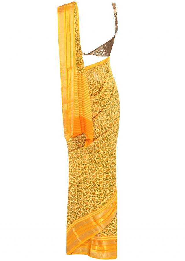 Yellow saree in floral printed jall only on Kalki