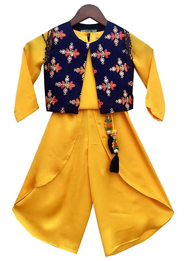 Yellow Satin Georgette Crop Top Dhoti with Embroidery Jacket by Fayon Kids
