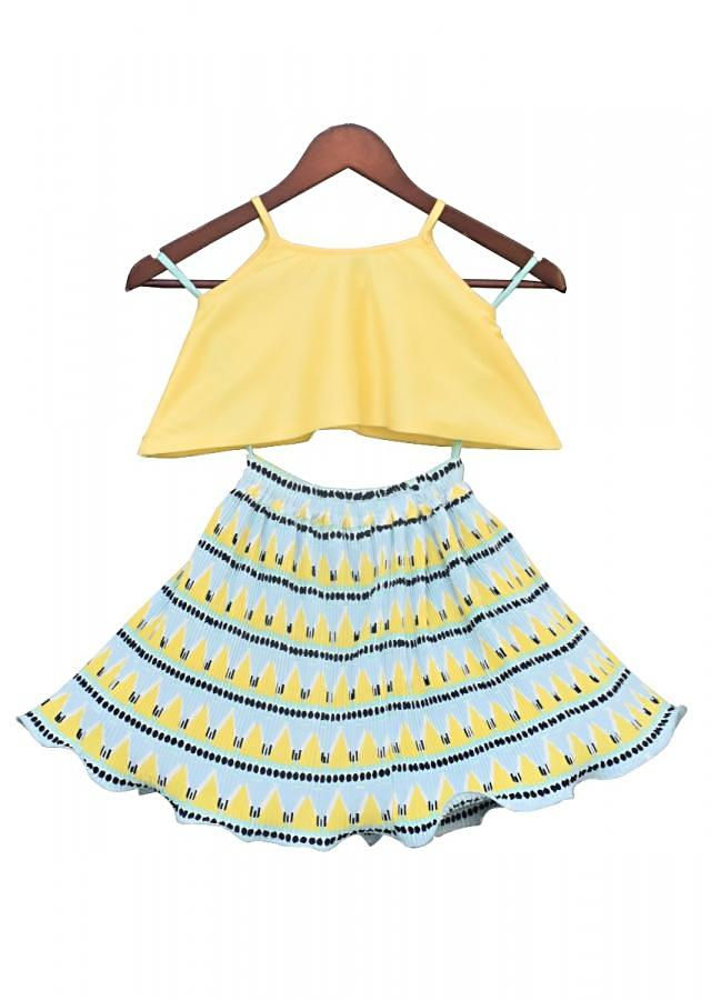 Yellow Soft Sequence Top with Pleated Skirt by Fayon Kids