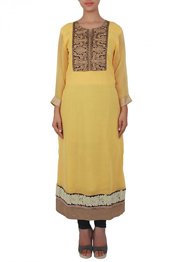 Yellow straight fit suit adorn in aari work only on Kalki