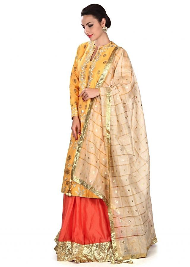 Yellow straight kurti adorn in zari embroidery only on Kalki