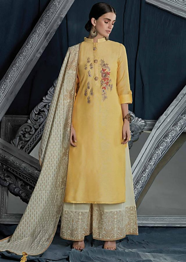 Yellow straight palazzo suit in silk with embroidered placket in gotta patch and resham