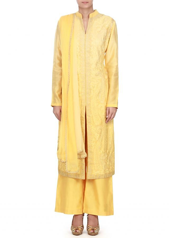 Yellow straight suit in resham and zari work all over only on Kalki