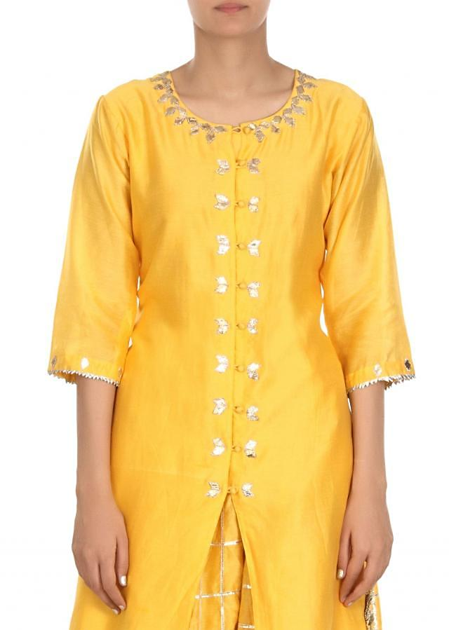 Yellow straight suit Matched with gotta lace skirt only on Kalki