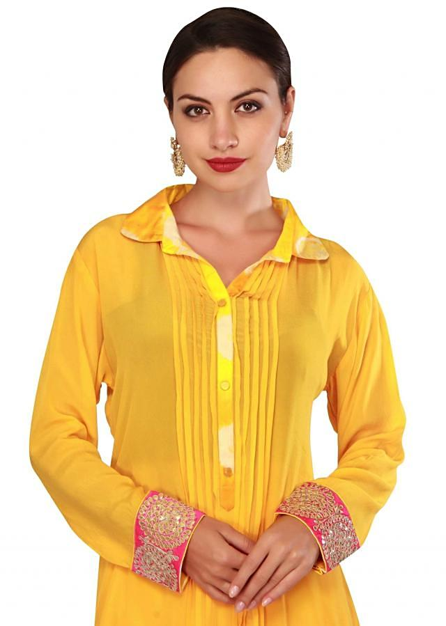 Yellow straight suit mathced with palazzo pant only on Kalki