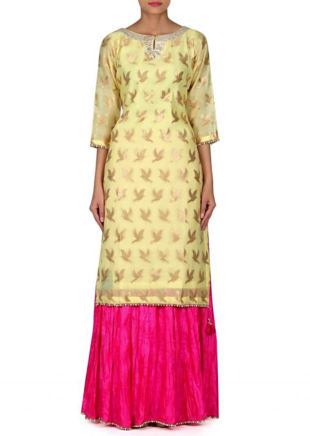 Yellow straight suit matched with crush lehenga only on Kalki