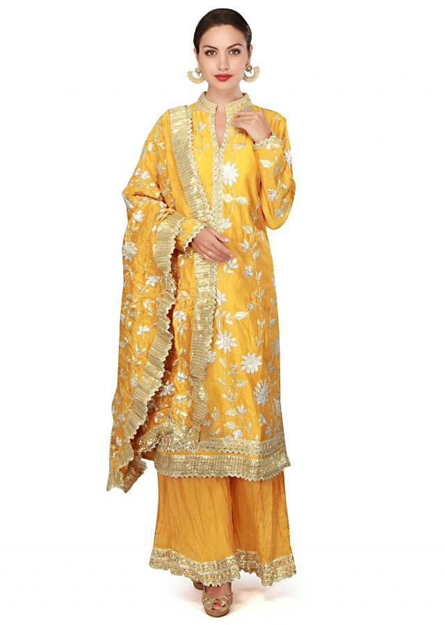 Yellow suit in gotta lace with palazzo pant only on Kalki