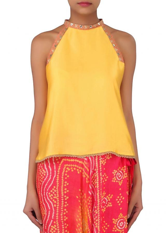 Yellow top matched with bandhani printed harem pants only on Kalki