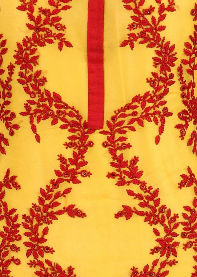Yellow Unstitched Suit Adorn In Resham Embroidery Only On Kalki