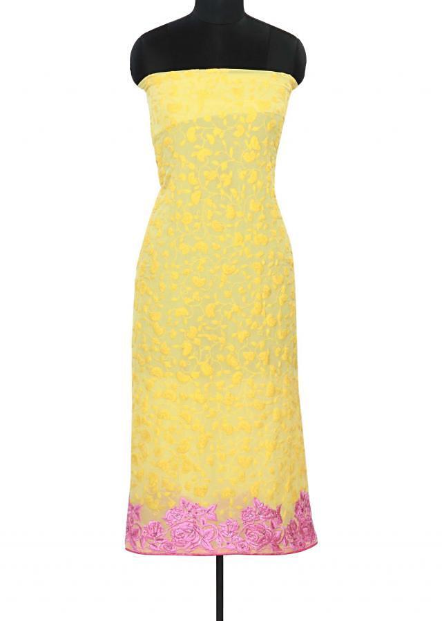 Yellow unstitched suit adorn in thread embroidery only on Kalki