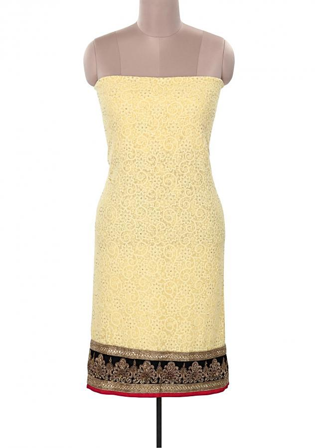 Yellow unstitched suit embellished in thread work only on Kalki
