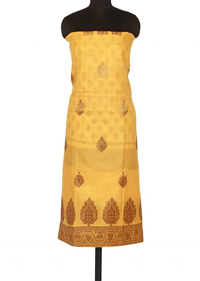 Yellow unstitched suit enhanced in weave only on Kalki