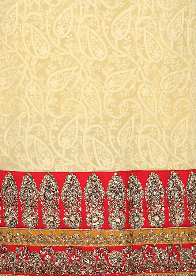 Yellow unstitched suit enhanced in thread work only on Kalki
