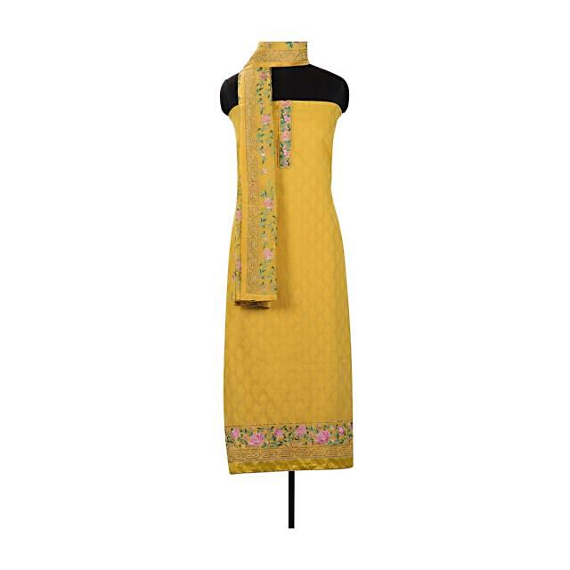 Yellow unstitched suit in with resham embroidered dupatta only on Kalki