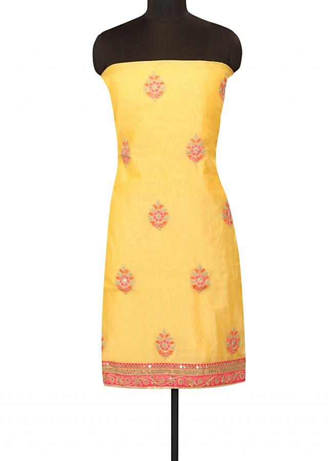 Yellow unstitched suit resham and zari butti only on Kalki