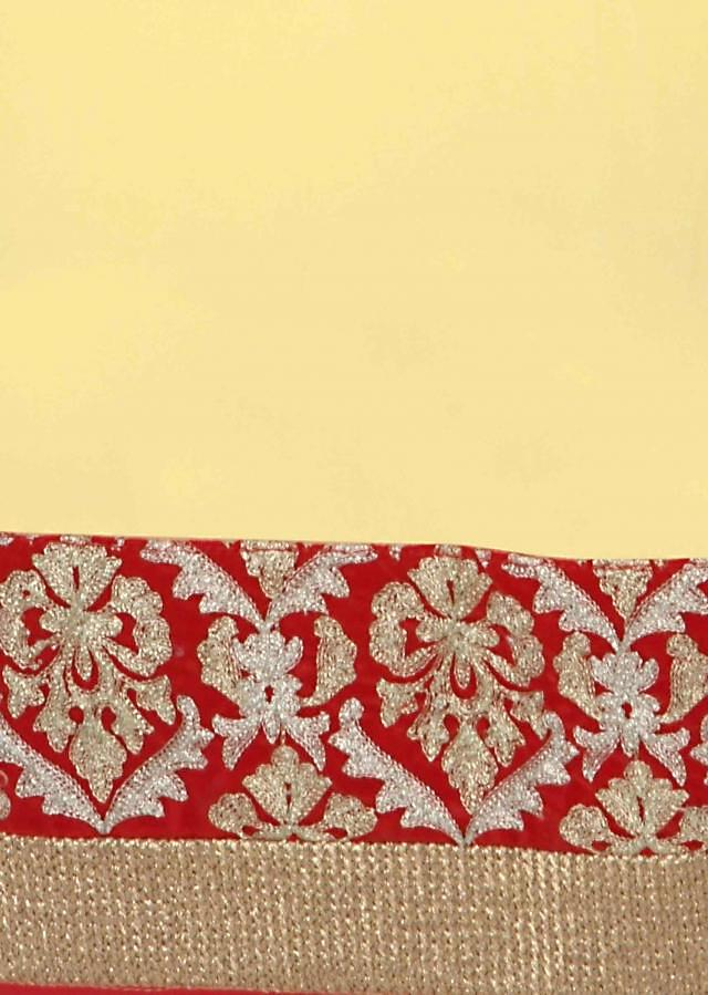 Yellow unstitched suit in red zari border only on Kalki