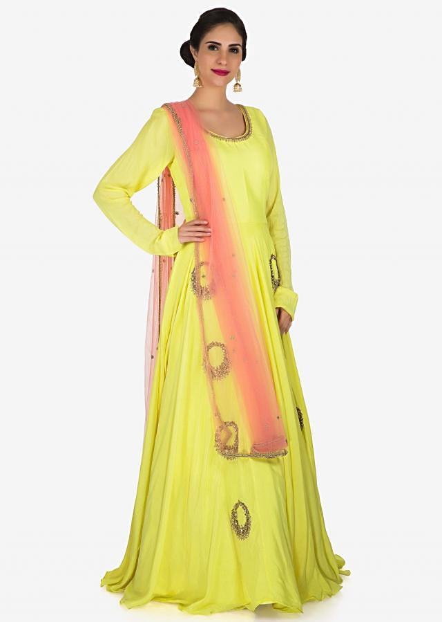 Yellow anarkali suit in cotton silk decorated in beautiful zardosi embroidered work only on Kalki