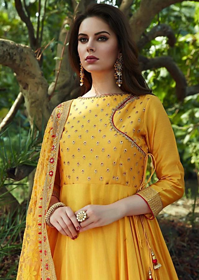 Yellow anarkali suit in cotton silk with embroidered bodice and dupatta
