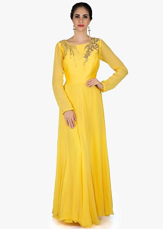 Yellow anarkali suit in georgette with french knot embroidery only on Kalki