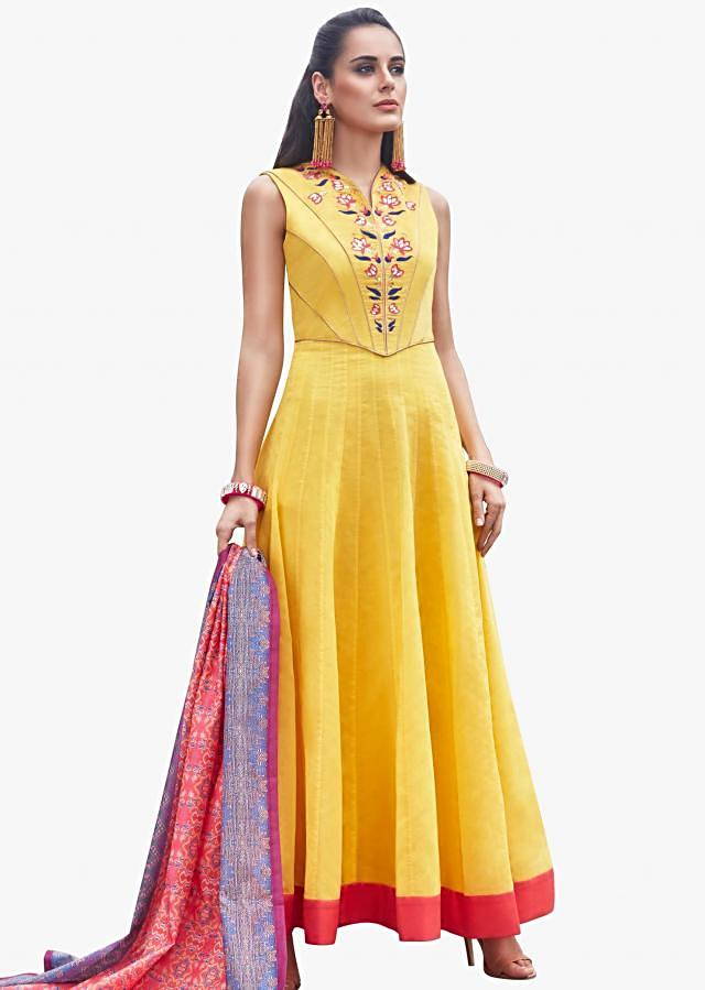 Yellow anarkali suit with a printed dupatta featuring the resham sequin floral motifs