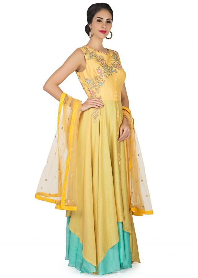 Yellow and blue anarkali suit with fancy hem and embroidered bodice only on Kalki