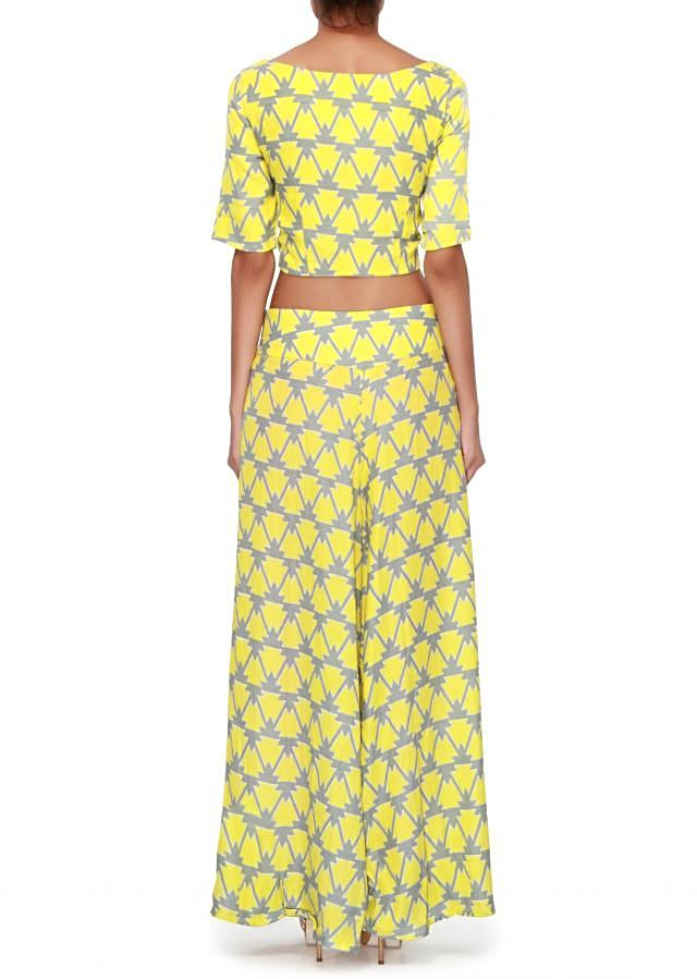Yellow and grey printed crop top matched with palazzo pant only on Kalki